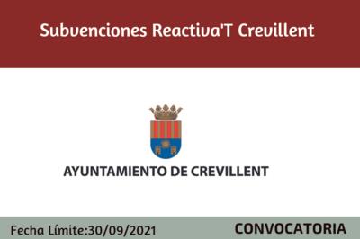 Subvenciones Reactiva't 2021 Crevillent