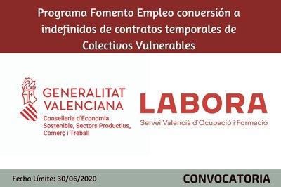 Programa Fomento de Empleo Conversión a Indefinido de contratos temporales de Colectivos Vulnerables