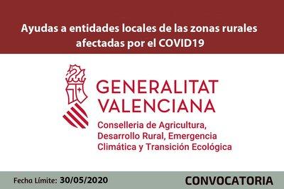Ayudas a entidades locales de las zonas rurales CV afectadas por el COVID19